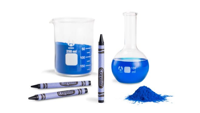 "The crayon color was inspired by a pigment discovered by Oregon State University chemists known as ""YInMn"" blue."