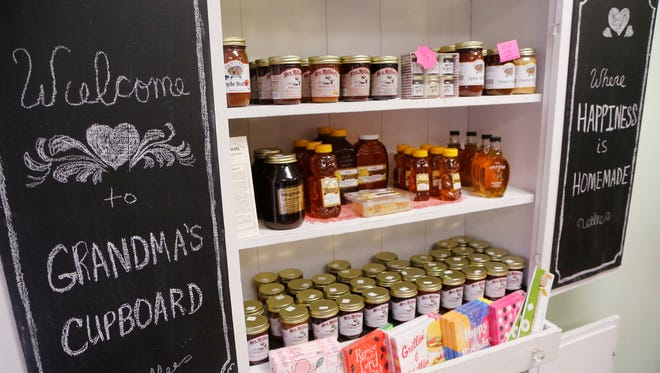 Fresh Indiana produced honey Tuesday, August 1, 2017, at Grandma's Cupboard, 53 N. Plank Street in Rossville. Former Flour Mill Bakery owner Sandra Hufford opened the store last February. Grandma's Cupboard specializes in deli meats and cheeses, deli trays, bulk foods, baking supplies and gift items.