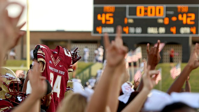 The Midwestern State University Mustangs defeated Tarleton State 45-42 in overtime to remain unbeaten. The team retired the No. 24 in memory of Robert Grays, who died from injuries sustained in the Mustangs' game against Texas A&M-Kingsville on Sept. 16.