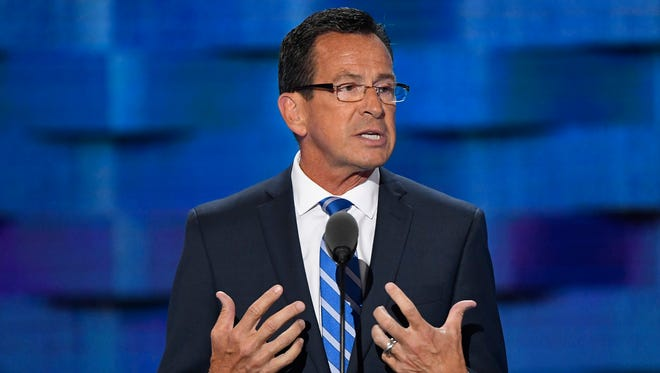 Connecticut Gov. Dannel Malloy speaks during the 2016 Democratic National Convention in Philadelphia. On Thursday, Feb. 22, 2018, Malloy joined the governors of New Jersey, New York and Rhode Island to announce they've formed a coalition to fight gun violence.