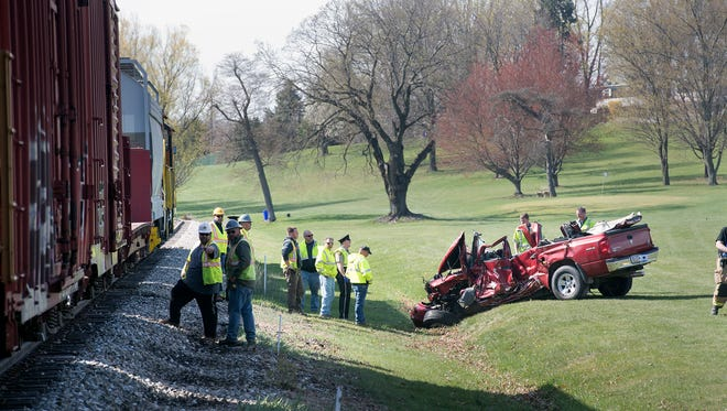 A truck and a train collided Monday morning in Jackson Township.