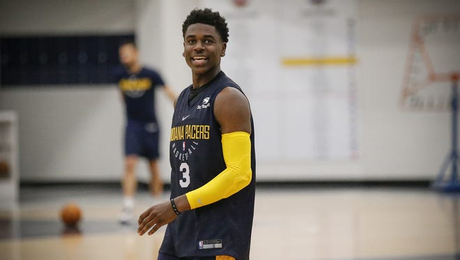 Indiana Pacers rookie Aaron Holdiay pactices during rookie/free agent camp Sunday, July 1, 2018 at the St. Vincent Center.