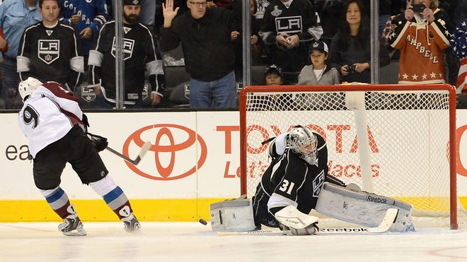 Dec. 21 first star: Los Angeles Kings goalie Martin Jones (31) made 23 saves and stopped all three shots in the shootout for a 3-2 victory over the Colorado Avalanche, making the 23-year-old phenom just the second goalie ever to win his first eight NHL starts.