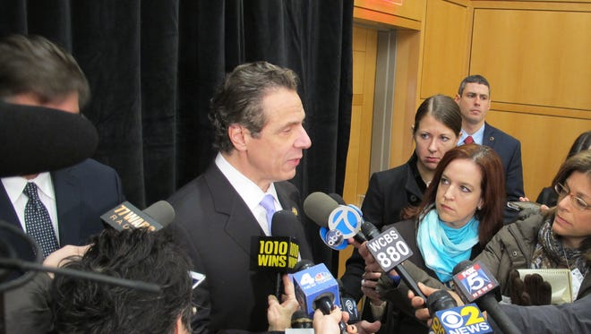 New York Gov. Andrew Cuomo speaks to reporters during a recent appearance at Hofstra University.