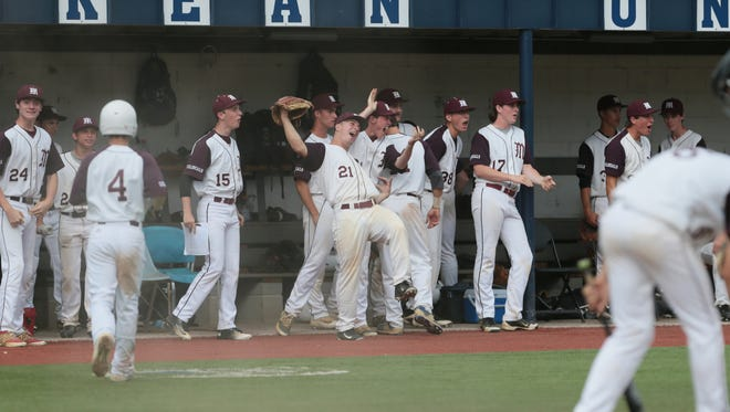 Morristown players cheer as the game is tied against North Hunterdon  in the NJSIAA Group IV semifinal at Kean University in Union on June 7, 2016.