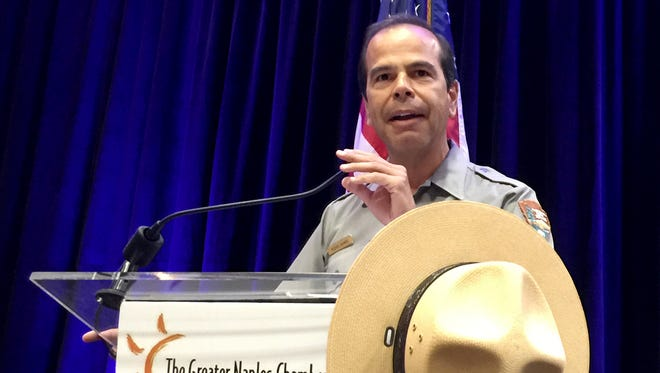 Pedro Ramos, superintendent of Everglades National Park, speaks at Wake Up Naples on Sept. 14, 2016, at the Hilton Naples.