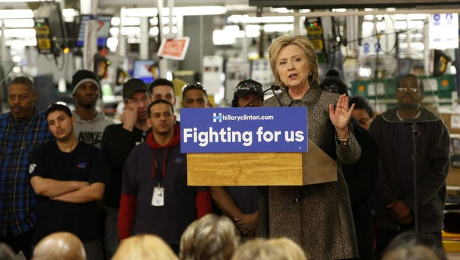 Hillary Clinton talks about jobs in Detroit, March 4, 2016.
