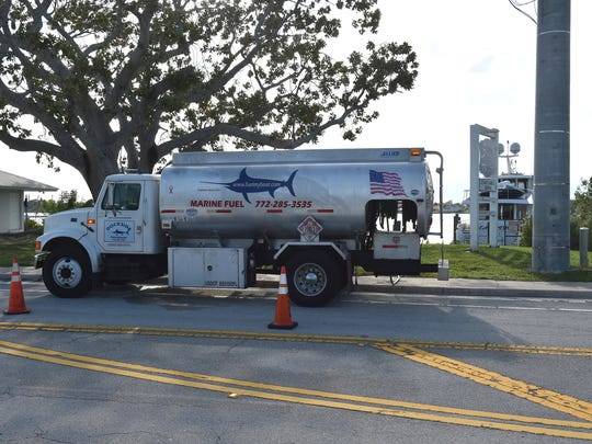 A marine fuel truck is seen parked on Northwest Dixie Highway, north of the old Roosevelt Bridge in front of Stuart Harbor Marina on Saturday, Sept. 7, where more than 300 gallons of fuel spilled into the St. Lucie River while trying to fill up a 90-foot Hatteras yacht, according to a Stuart Fire and Rescue spokesman.