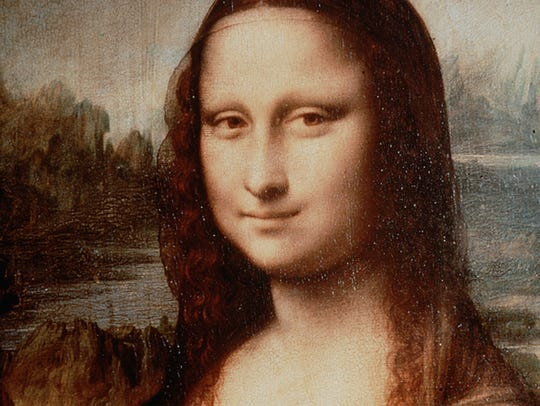 Detail of the painting 'Mona Lisa' by da Vinci.