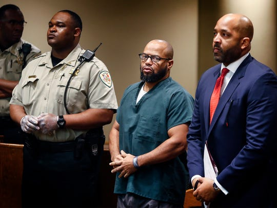 Billy Ray Turner (middle) along with his attorney John Keith Perry (right) makes a appearance in Judge Lee Coffee's courtroom Monday morning. Prosecutors announced they will not seek the death penalty against Turner and co-defendant Sherra Wright, who are charged in the killing of former NBA player Lorenzen Wright.