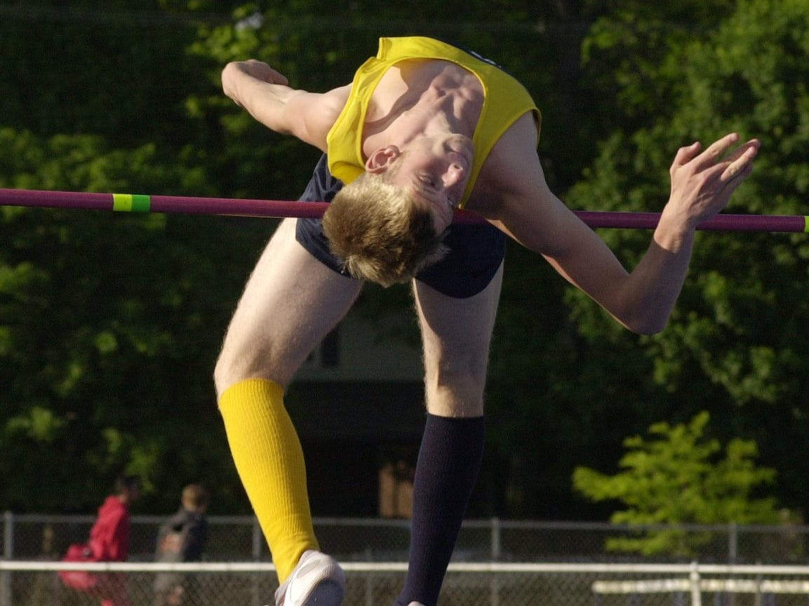 Port Huron Northern's Adam Kring is the Blue Water Meet of Champions record holder in the high jump, having jumped 6 feet, 9 1/2 inches in 2001.