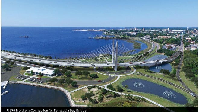 This rendering shows one of Vision Pensacola's proposed concepts for the landing of the new Pensacola Bay Bridge at the intersection of 17th Avenue and Bayfront Parkway.