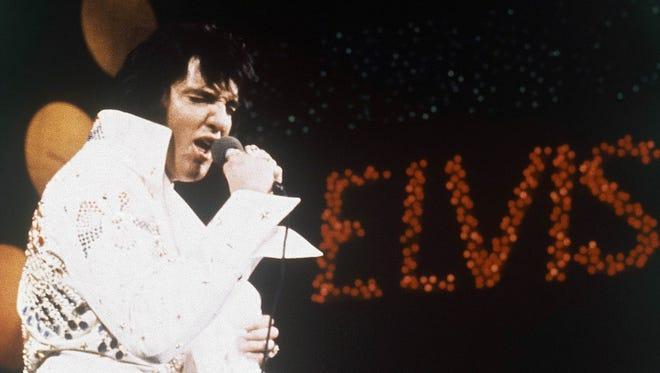 Elvis Presley performs in 1972.