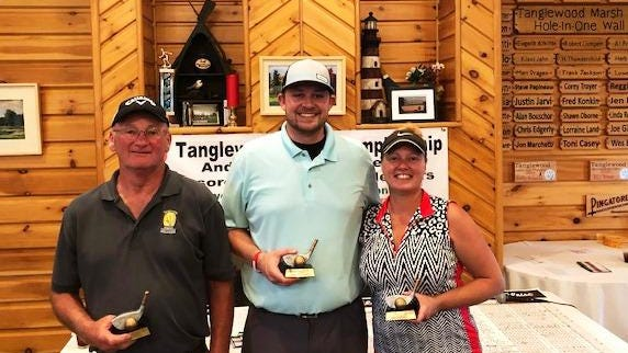 Tanglewood Marsh Senior champion Steve Avery, Men's champion Todd Beaumont, and Women's champion Jamie Schultz are pictured from left to right.