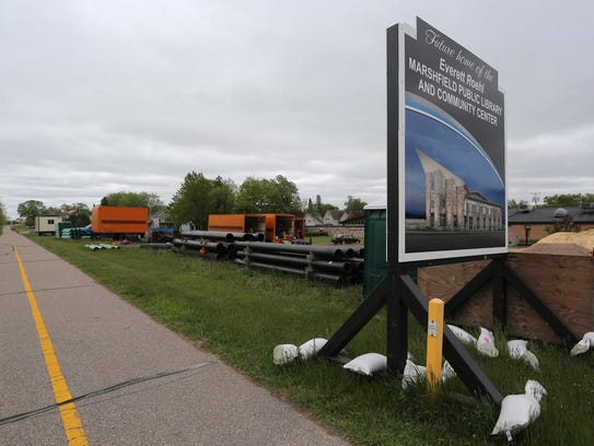 Road construction materials were piled in May at the