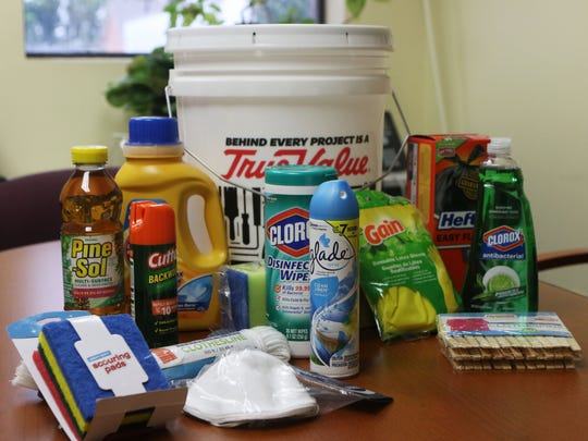 Items to be packed in a flood bucket to send to victims
