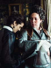 """The Favourite"" depicts a secret romance between Lady Sarah Churchill (Rachel Weisz, left) and Queen Anne (Olivia Colman), who enters a love triangle with her maid."