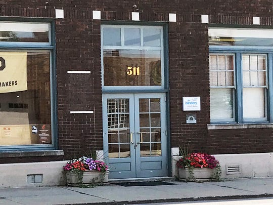 Here's the after photo, showing that a sign was stolen last week from the front of Lafayette Printing Co. on Ferry Street in downtown Lafayette.