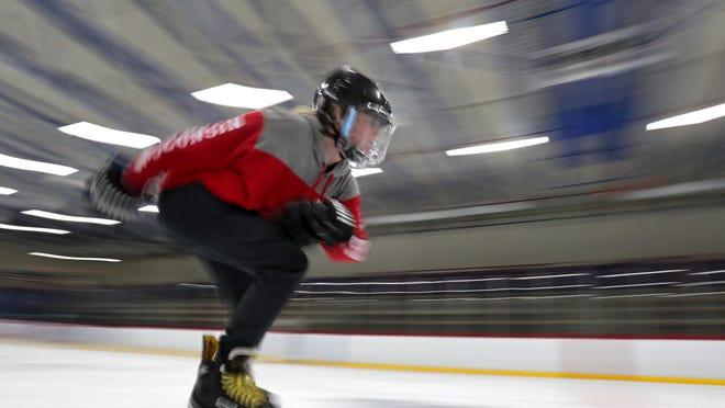 Ava Drach, 11, from Neenah, works on her technique during an open Skate Oct. 26 at Appleton Family Ice Center in Appleton.