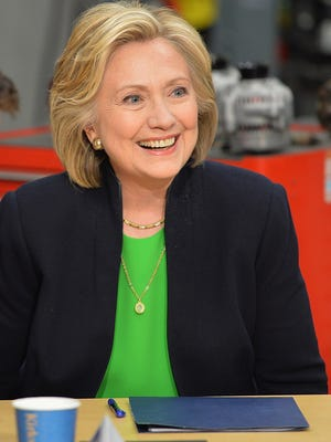 Hillary Rodham Clinton participates in a roundtable discussion with students and educators during a campaign event at Kirkwood Community College this week in Monticello, Iowa.