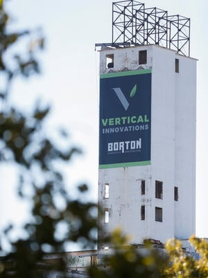 The logo for Vertical Innovations was placed on the former MFA silo in downtown Springfield.