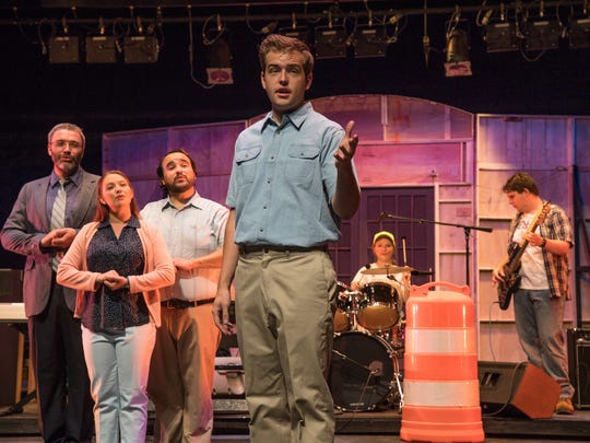 """Mate Marble, Jordyn Aspyn, Henry Ballesteros and Christopher Whitesides star in the world premiere of """"Under Construction: The Blue Collar Musical"""" at the Neil Simon Festival in Cedar City."""