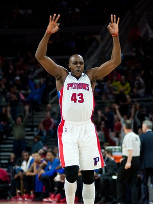 Detroit Pistons forward Anthony Tolliver (43) celebrates during the third quarter against the Philadelphia 76ers at The Palace of Auburn Hills. Detroit won 107-89.