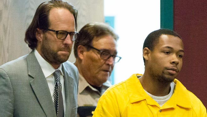 Corey Franklin, right, appears with his public defender Ryan Byrd, left, in 3rd Judicial District Court on Monday, May 2, 2016, where he was sentenced to life in prison for the murder of his girlfriend Graciela Hernandez. Franklin will have to serve a mandatory 30 years behind bars before he is eligible for parole. Hernandez was killed on Jan. 21, 2015, at a home in 1400 block of Eclipse Road in the unincorporated village of Doña Ana.