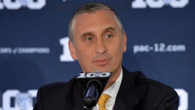 Arizona State men's basketball coach Bobby Hurley speaks at Pac-12 Media Day on Thursday in San Francisco.