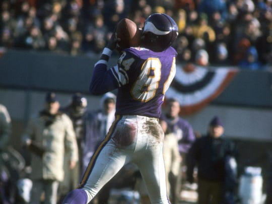 Former MSU star receiver Gene Washington makes a catch against the Cleveland Browns in the 1970 NFL championship game at Metropolitan Stadium.
