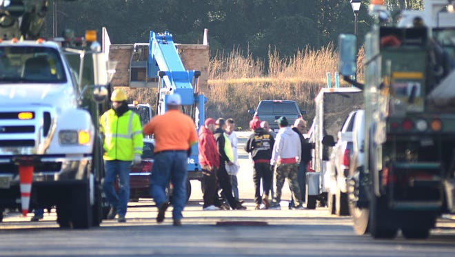 A worker was injured after being run over by a forklift at a Vineland construction site on Monday morning.