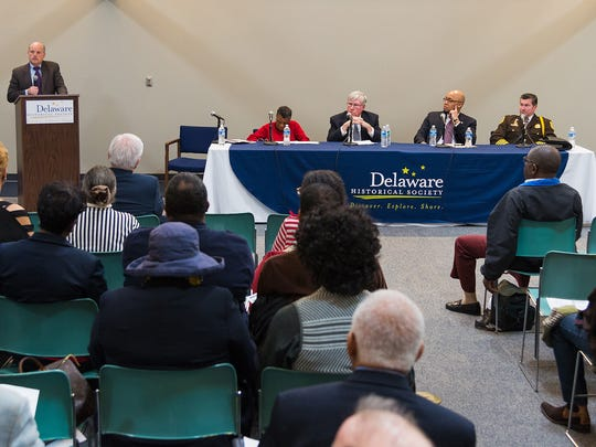 Delaware Supreme Court Chief Justice Leo E. Strine Jr. makes opening remarks at a panel discussing race at the Delaware History Museum in Wilmington on Thursday.