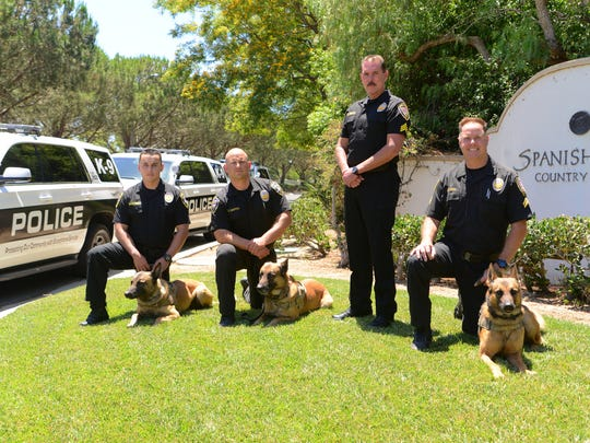 The Oxnard police K-9 unit from left: Officer Moses