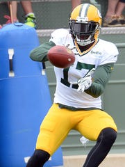 Wide receiver Davante Adams (17) during Green Bay Packers Training Camp at Ray Nitschke Field August 19, 2015.