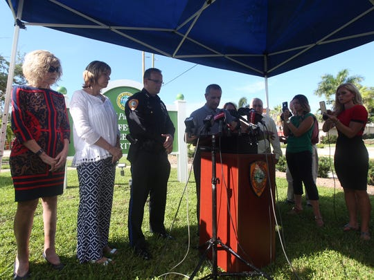 """Punta Gorda elected officials and law enforcement hold a press conference Wednesday the accidental shooting of.  Mary Knowlton. She was killed by an officer during a Citizens Police Academy """"shoot don't shoot"""" scenario."""