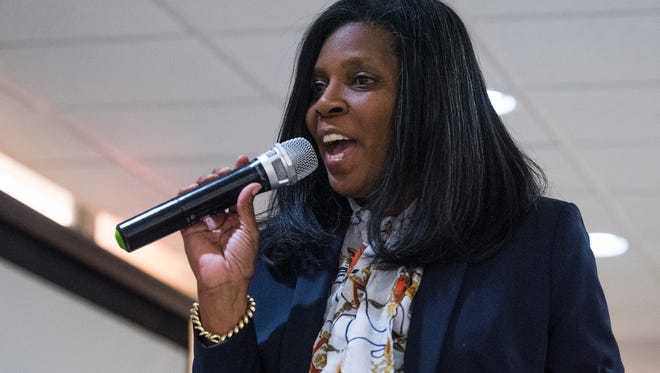 District 5 candidate Rhonda Oats speaks during the Montgomery County School Board of Education meet the candidates forum in Montgomery, Ala. on Tuesday May 1, 2018.