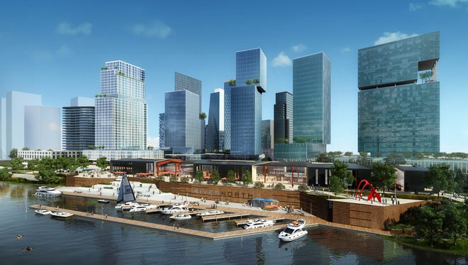 A view from the Cumberland River of the planned River North Development District