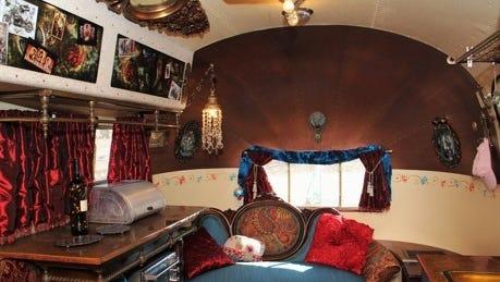 The interior of a vintage trailer Harold and Elena Parker restored.