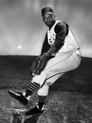The Reds' Brooks Lawrence in April of 1957.