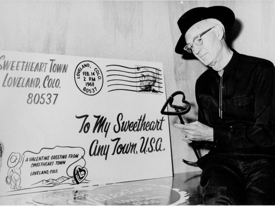 Ted Thompson, pictured here, helped push Loveland's valentine re-mailing program to new heights.