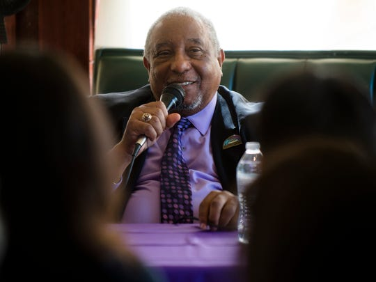 Bernard Lafayette speaks during panel discussion on non-violence on Saturday, March 4, 2017 at the Selma Center for Non-Violence in Selma, Ala.