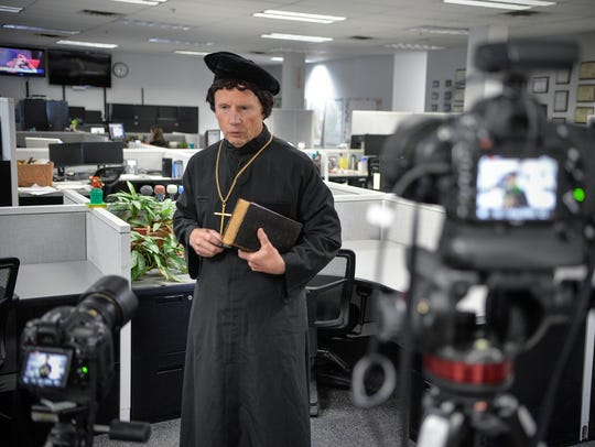 Rev. Larry Strenge speaks in character as Martin Luther