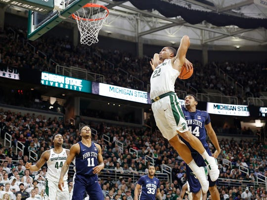 Miles Bridges flies in for a dunk against Penn State at Breslin Center on Jan. 31, 2018 in East Lansing.