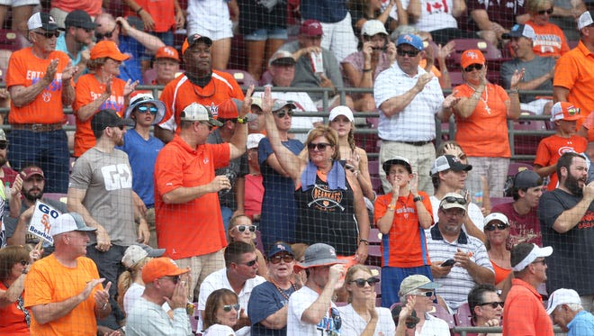 Sam Houston State Bearkat fans celebrate their team during their NCAA Super Regional matchup with FSU at Dick Howser Stadium.