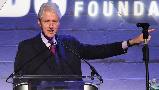 Former President Bill Clinton speaks onstage at the Jon Bon Jovi Soul Foundation's 10-year anniversary at the Garage on Oct. 6 in New York City.