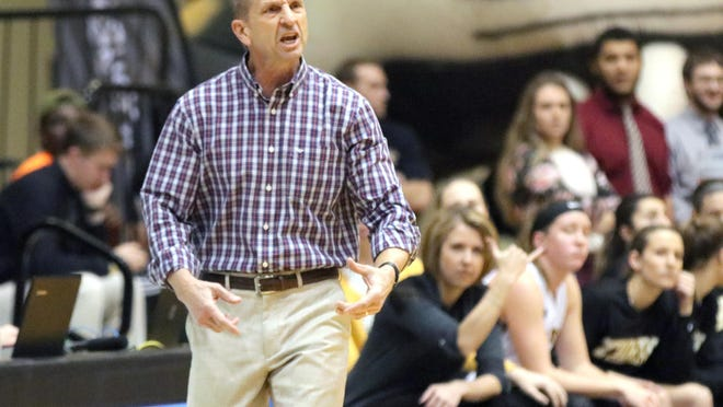 Fort Hays women's basketball coach Tony Hobson instructs his team in this 2019 file photo.