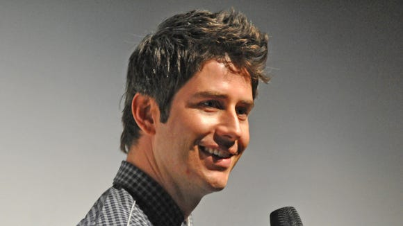 """Arie Luyendyk Jr., son of Indianapolis 500 winner Arie Luyendyk, takes questions from the crowd before the viewing party for the new season of """"The Bachelor"""" TV show at the Indianapolis Museum of Art Monday January 7, 2013. Luyendyk was a contestant on the show."""