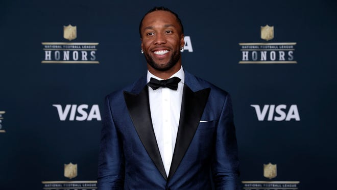 Feb 4, 2017: Arizona Cardinals wide receiver Larry Fitzgerald arrives on the red carpet prior to the 6th Annual NFL Honors at Wortham Theater.