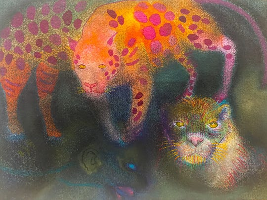 A selection of pastels by Jan Harrison can be seen