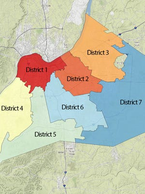 JCPS' seven school board districts.